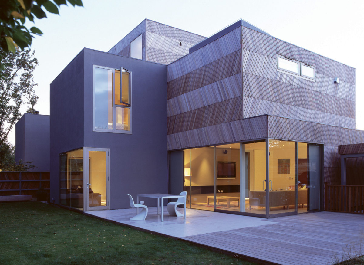 Alison Brooks Architects _ Herringbone Houses _ Photo Exterior Back Garden Evening