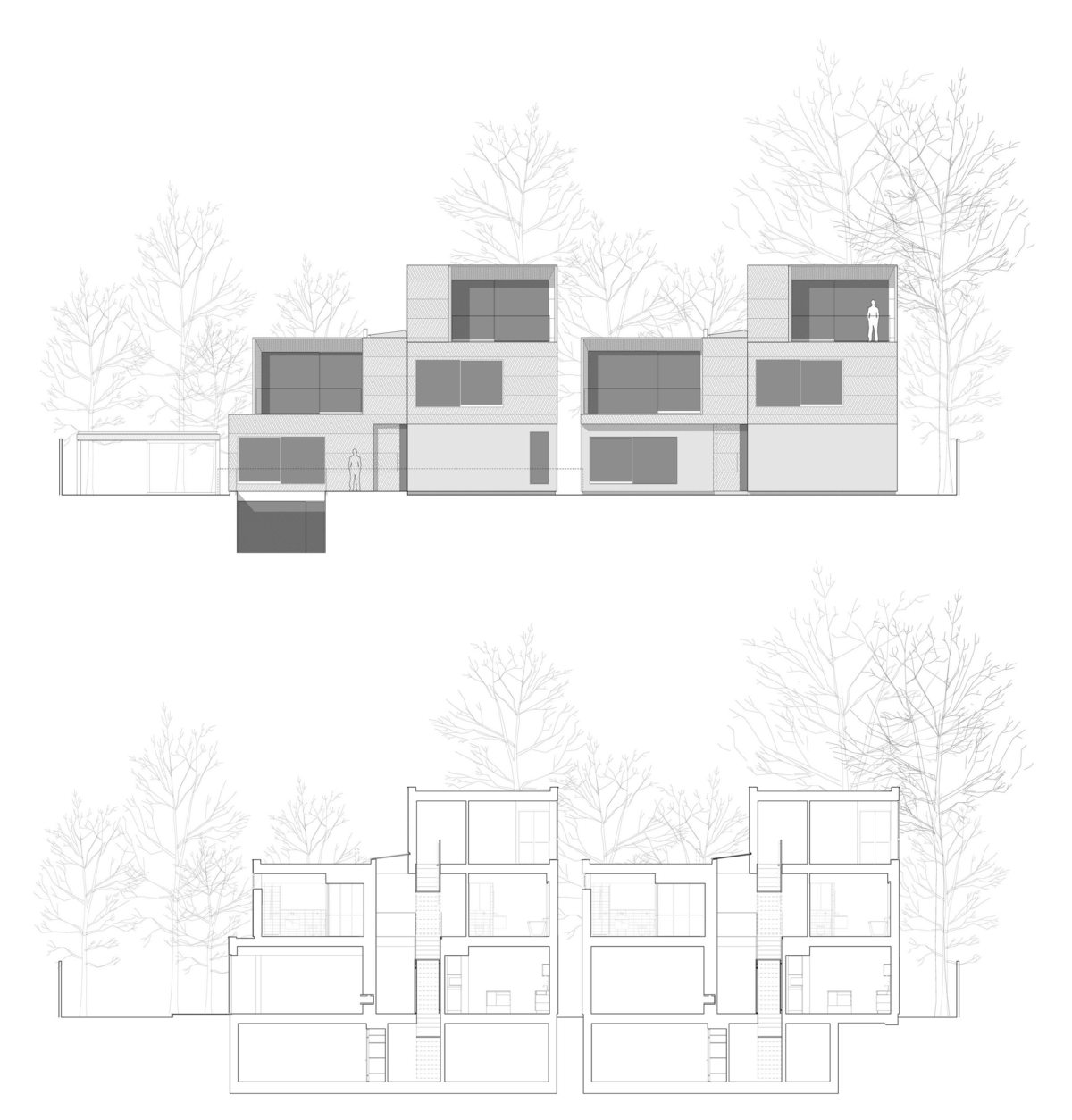 Alison Brooks Architects _ Herringbone Houses _ Sections Elevations 1