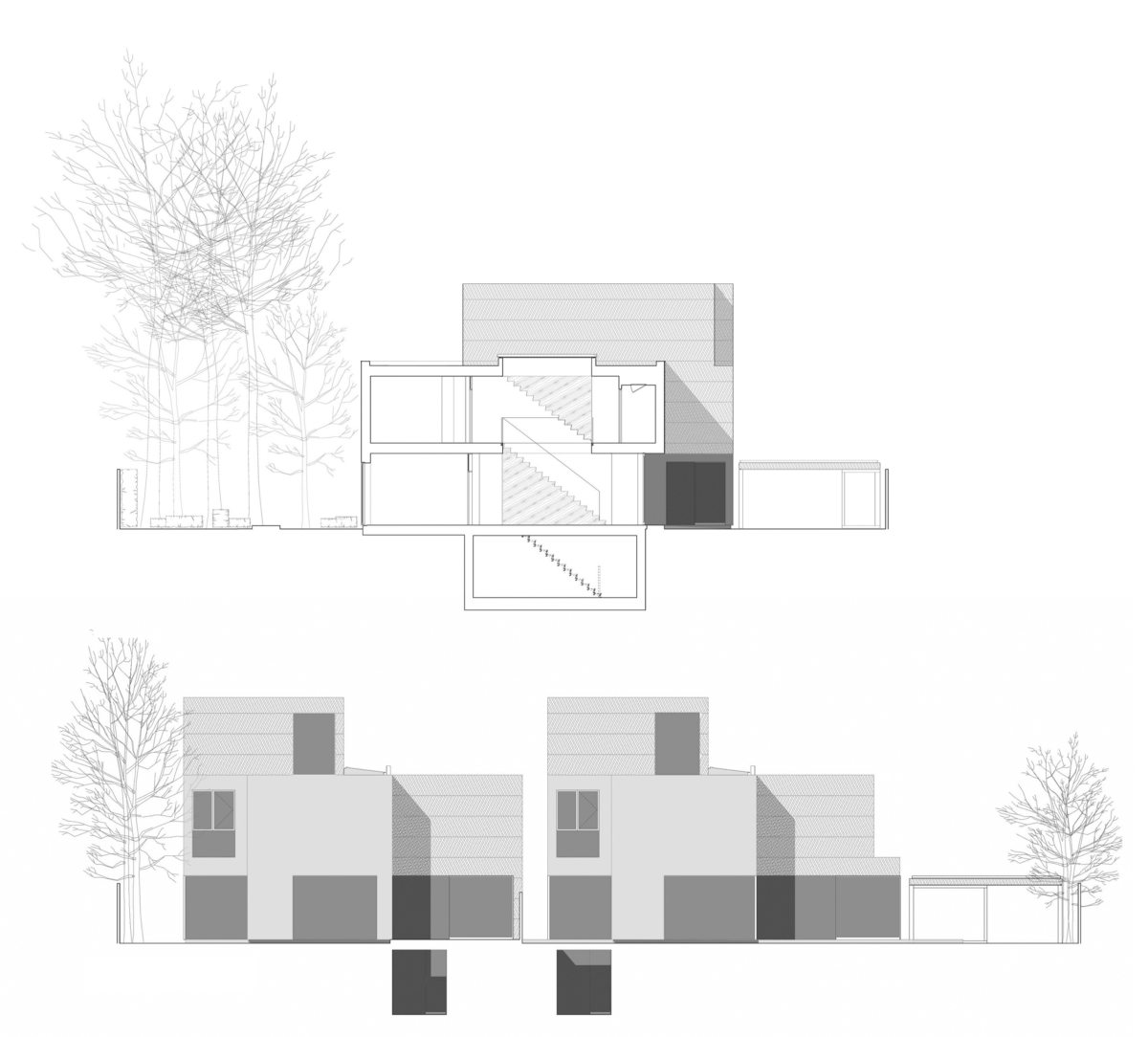 Alison Brooks Architects _ Herringbone Houses _ Sections Elevations 2