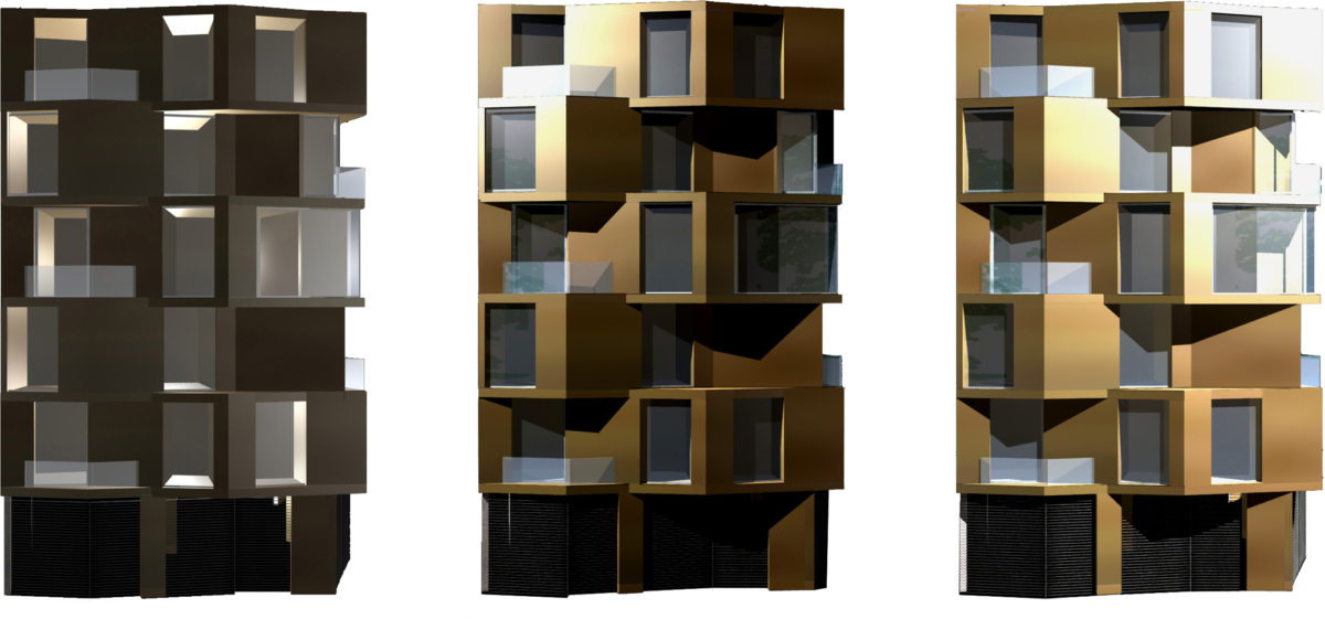 Alison Brooks Architects _ Accordia _ Brass Building _ Facade Lighting Tests