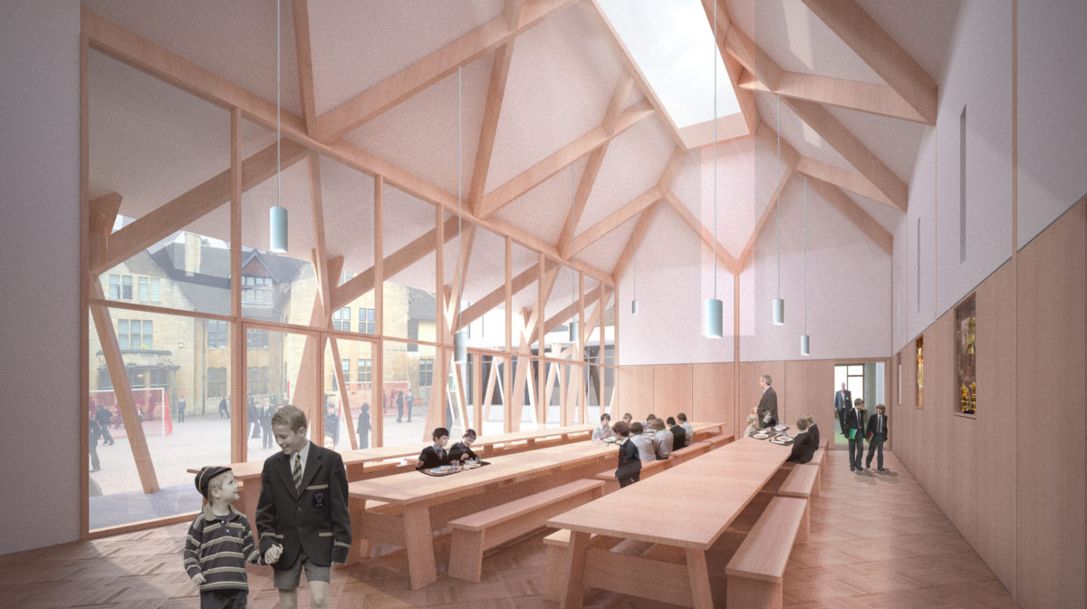 Alison Brooks Architects _ New College _ Oxford _ Rendering Interior Dining Hall