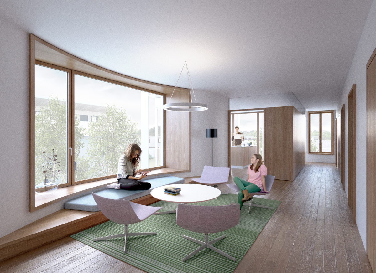Alison Brooks Architects _ Churchill College Graduate Residences _ Cambridge _ Visualisation Interior Living Room