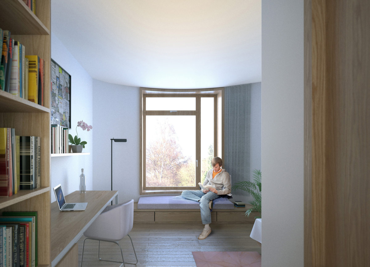 Alison Brooks Architects _ Churchill College Graduate Residences _ Cambridge _ Visualisation Interior Bedroom 3
