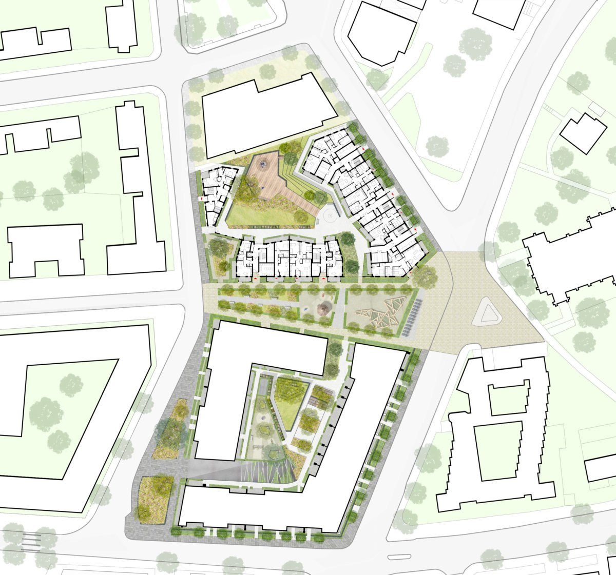 Alison Brooks Architects _ Durham & Gloucester Court _ South Kilburn Estate Regeneration _ Landscape Plan 2